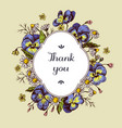 thank you badge over heartseases and chamomiles on vector image