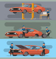 tire service and car repair set vector image