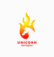 unicorn in a flame shape abstract sign vector image vector image