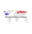 united states and russia contour world map vector image vector image