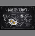 vintage poster breakfast with fried eggs and vector image vector image
