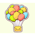 yellow envelope flying on color balloons vector image vector image