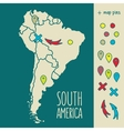 Vintage Hand drawn South America travel map with vector image