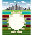 Business with big city and hands vector image