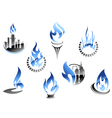 Gas and oil industry symbols in glossy style vector image