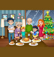 a big family at the dining table vector image vector image