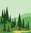 Abstract landscape design with green trees and hil vector image vector image