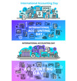 accounting day banner set outline style vector image