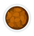almond pile in bowl icon flat isolated vector image