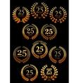 Anniversary golden heraldic laurel wreaths icons vector image