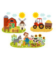 basic rgb set isolated farm scenes vector image