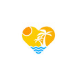 beach love logo icon design vector image