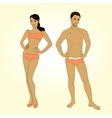 Beautiful young man and woman in lingerie on the vector image