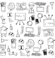 Black white hand draw school doodles vector image