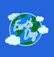 blue earth day typography with white outline at vector image