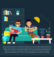 boys reading books in living room vector image vector image
