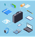 business person suitcase and its contents vector image vector image