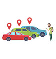 car sharing man looking for vehicle with vector image vector image