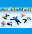 children doing snow angel during the winter vector image vector image