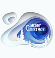 christmas card snowy hill with fur trees vector image