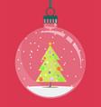 christmas globe with a christmas tree inside vector image