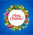 christmas tree and holly wreath with xmas gifts vector image