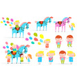 circus horse and kids clip art collection vector image vector image