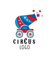 circus logo design emblem with cannon vector image