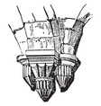 corbel supporting pillars vintage engraving vector image vector image
