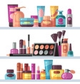 cosmetic bottles on store shelves woman beauty vector image vector image