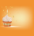 cupcake with white cream and candle vector image vector image