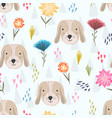 cute cartoon pattern with dog heads and flowers vector image vector image