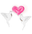 doves image - valentines vector image