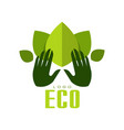 eco logo healthy organic food label emblem for vector image vector image