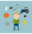 Farmer man and agriculture icons vector image