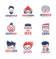 geek logo business identity of smart programmers vector image vector image
