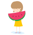 Girl With Watermelon vector image vector image