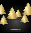 golden fir trees over black background vector image vector image