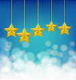 golden stars on ropes vector image vector image