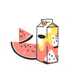 hand drawn summer set of juice pack and watermelon vector image