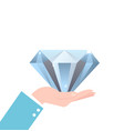 hand holding big diamond concept of rich brilliant vector image vector image