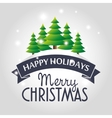 happy merry christmas tree card vector image vector image