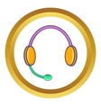 Headphones with microphone icon vector image vector image