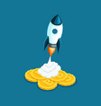 isometric rocket launch the concept of creating vector image