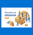 isometric workers in a warehouse vector image