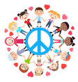 kids love peace conceptual groups of children vector image