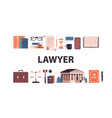 law and justice set gavel judge books scales vector image vector image