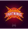 lightning team logo ribbons letters rays stars vector image