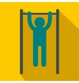 Man doing pull ups on the horizontal bar icon vector image vector image