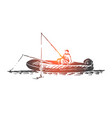 man fishing boat lake activity concept vector image